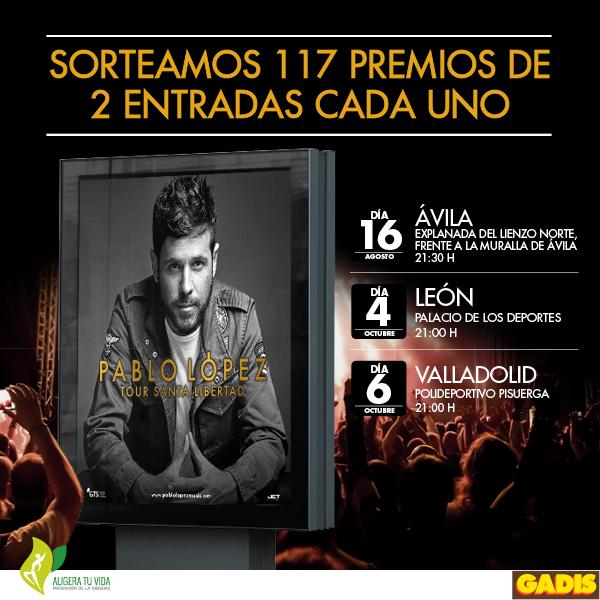 ¡En Supermercados Gadis regalamos 234 entradas para los conciertos de Pablo López en Ávila, León y Valladolid!