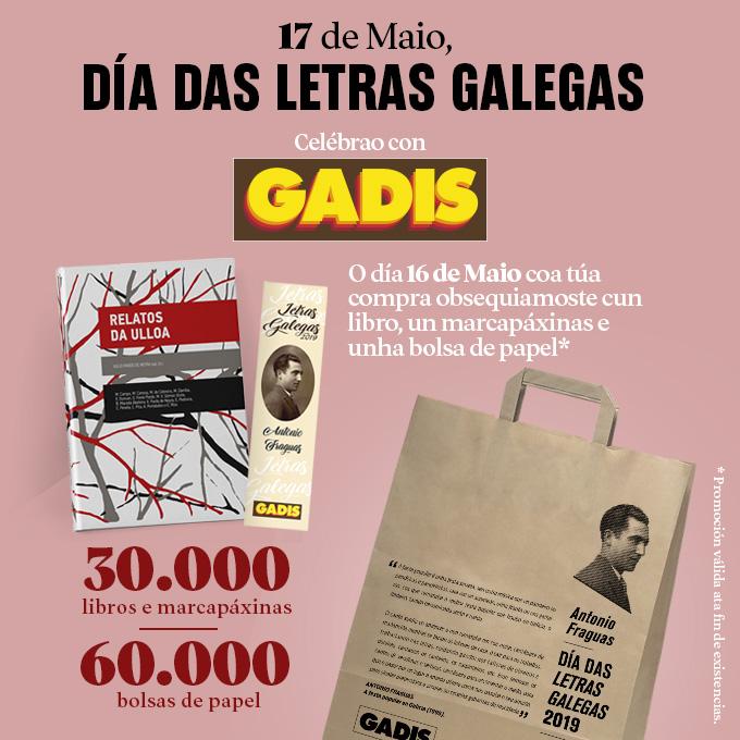 GADIS EDITA 30.000 LIBROS Y DIFUNDE EL LEGADO DE ANTONIO FRAGUAS EN MARCAPÁGINAS Y BOLSAS DE LA COMPRA CON MOTIVO DE LAS LETRAS GALLEGAS