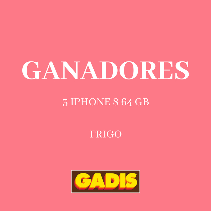 GANADORES 3 IPHONE 8 64 GB